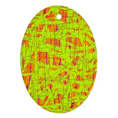 yellow and orange pattern Ornament (Oval)