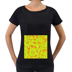 yellow and orange pattern Women s Loose-Fit T-Shirt (Black)