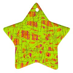 yellow and orange pattern Star Ornament (Two Sides)