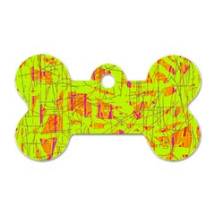 yellow and orange pattern Dog Tag Bone (Two Sides)