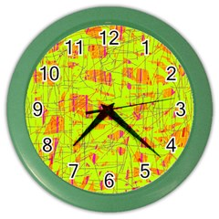 yellow and orange pattern Color Wall Clocks