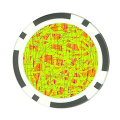 Yellow And Orange Pattern Poker Chip Card Guards