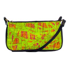 yellow and orange pattern Shoulder Clutch Bags