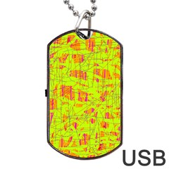yellow and orange pattern Dog Tag USB Flash (Two Sides)