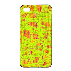 yellow and orange pattern Apple iPhone 4/4s Seamless Case (Black)