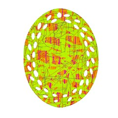 yellow and orange pattern Oval Filigree Ornament (2-Side)