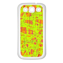 yellow and orange pattern Samsung Galaxy S3 Back Case (White)