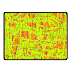 yellow and orange pattern Double Sided Fleece Blanket (Small)