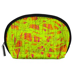 yellow and orange pattern Accessory Pouches (Large)