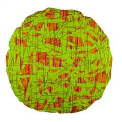 yellow and orange pattern Large 18  Premium Flano Round Cushions