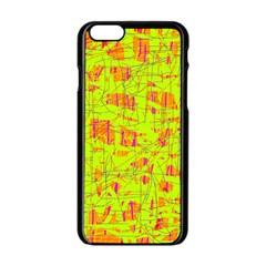 yellow and orange pattern Apple iPhone 6/6S Black Enamel Case