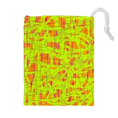 yellow and orange pattern Drawstring Pouches (Extra Large)