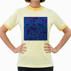 Deep blue pattern Women s Fitted Ringer T-Shirts