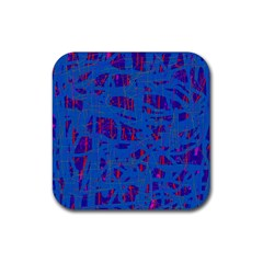 Deep blue pattern Rubber Coaster (Square)
