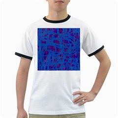 Deep blue pattern Ringer T-Shirts