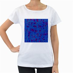 Deep blue pattern Women s Loose-Fit T-Shirt (White)