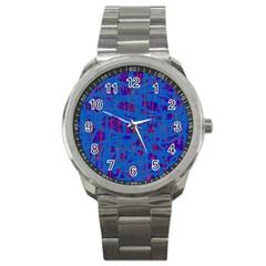 Deep blue pattern Sport Metal Watch