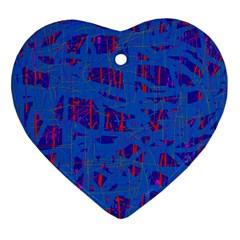 Deep blue pattern Heart Ornament (2 Sides)