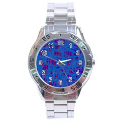 Deep blue pattern Stainless Steel Analogue Watch
