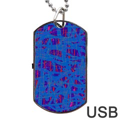 Deep blue pattern Dog Tag USB Flash (Two Sides)