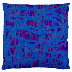 Deep blue pattern Large Cushion Case (Two Sides)