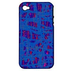 Deep blue pattern Apple iPhone 4/4S Hardshell Case (PC+Silicone)