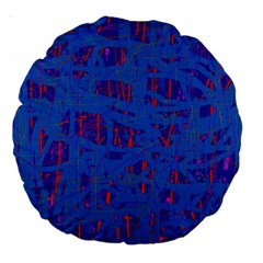 Deep blue pattern Large 18  Premium Round Cushions