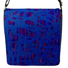 Deep blue pattern Flap Messenger Bag (S)