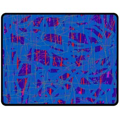 Deep blue pattern Double Sided Fleece Blanket (Medium)