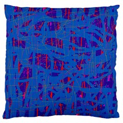 Deep blue pattern Large Flano Cushion Case (Two Sides)