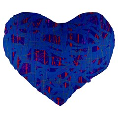 Deep blue pattern Large 19  Premium Flano Heart Shape Cushions