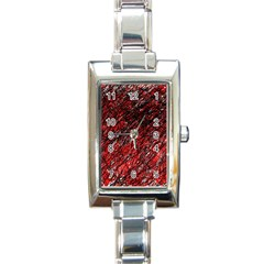 Red and black pattern Rectangle Italian Charm Watch