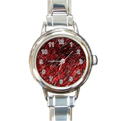 Red and black pattern Round Italian Charm Watch