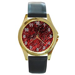 Red and black pattern Round Gold Metal Watch