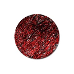 Red and black pattern Magnet 3  (Round)