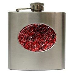 Red and black pattern Hip Flask (6 oz)