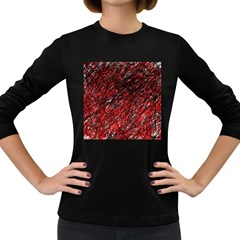 Red and black pattern Women s Long Sleeve Dark T-Shirts