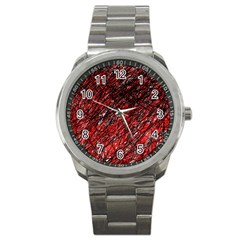 Red and black pattern Sport Metal Watch