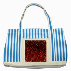 Red and black pattern Striped Blue Tote Bag