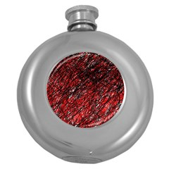 Red and black pattern Round Hip Flask (5 oz)
