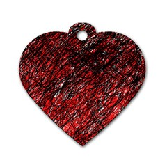 Red and black pattern Dog Tag Heart (One Side)
