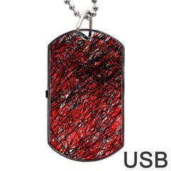 Red and black pattern Dog Tag USB Flash (One Side)