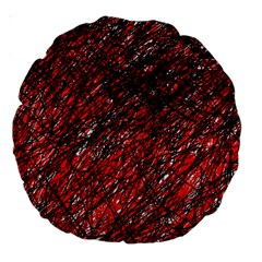Red and black pattern Large 18  Premium Round Cushions