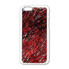 Red and black pattern Apple iPhone 6/6S White Enamel Case