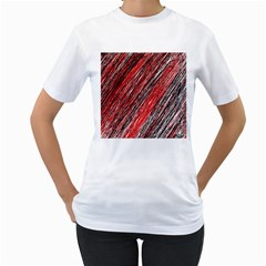 Red and black elegant pattern Women s T-Shirt (White) (Two Sided)