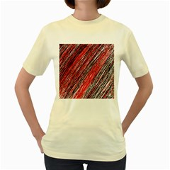 Red and black elegant pattern Women s Yellow T-Shirt