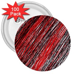 Red and black elegant pattern 3  Buttons (100 pack)