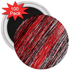 Red and black elegant pattern 3  Magnets (100 pack)