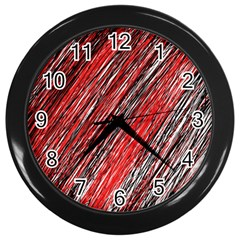 Red and black elegant pattern Wall Clocks (Black)