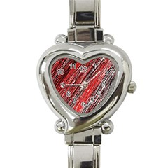 Red and black elegant pattern Heart Italian Charm Watch